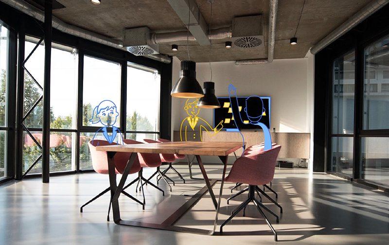 marque employeur : une salle de réunion avec des personnes dessinées assises sur les chaises