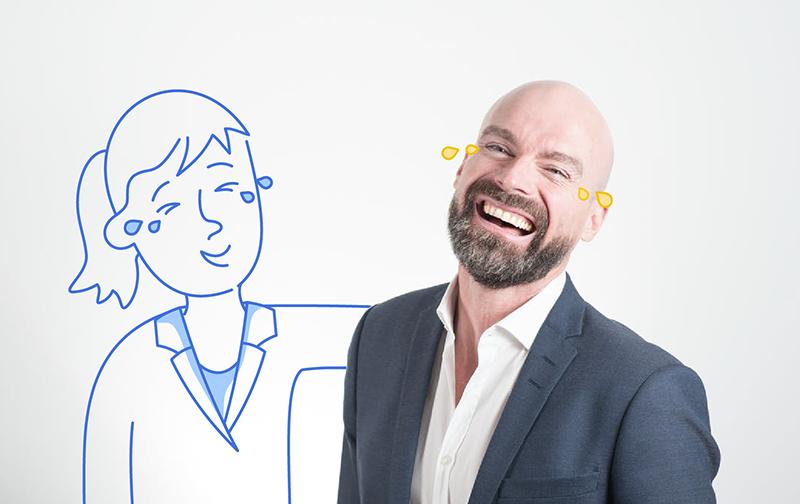 le bonheur au travail : homme riant jusqu'au larme