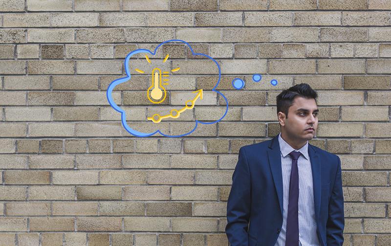le bon et le mauvais stress : homme de face devant un mur en briques avec une bulle de pensée dessinée