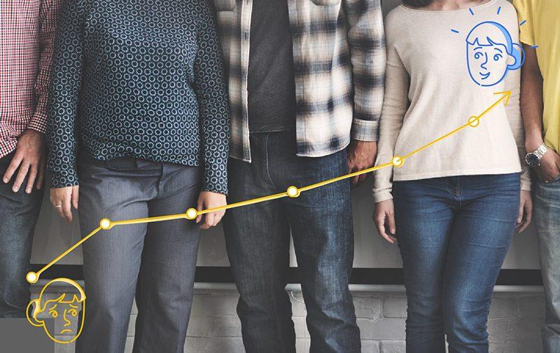 expérience collaborateur, quatre personnes debout côte à côte