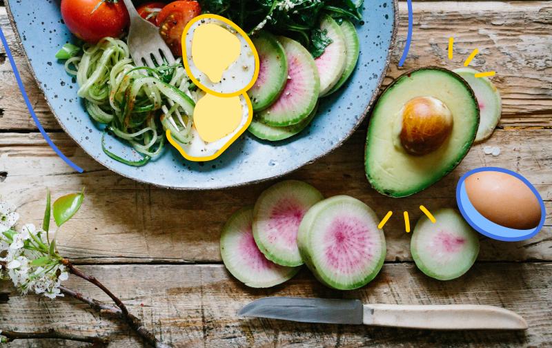nutrition et burn out, une assiette avec de la salade, des oeufs et un avocat coupé