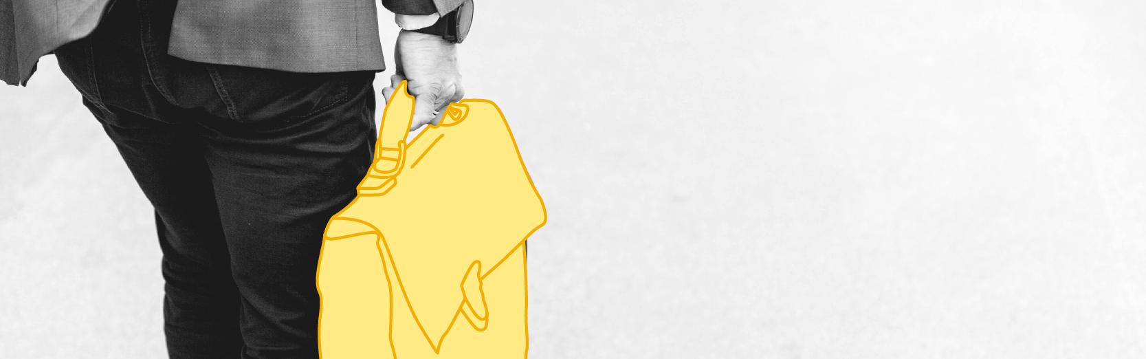 retour au travail, homme en costume tenant une malette jaune
